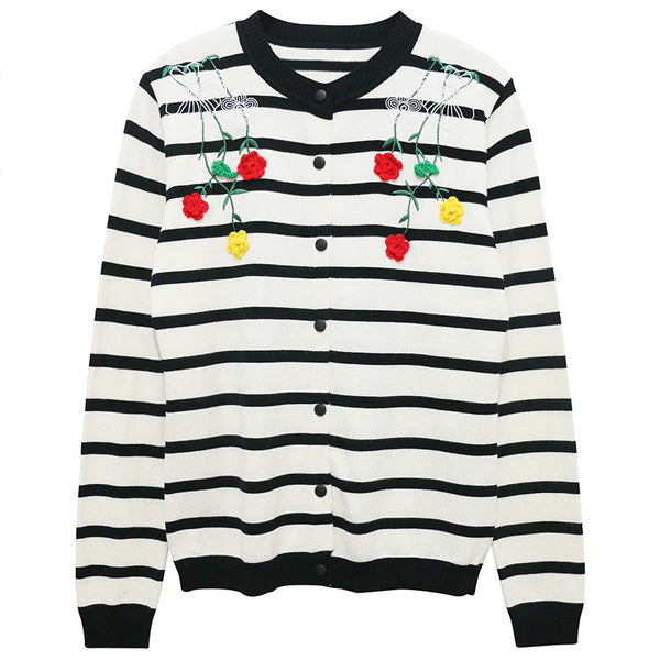 Flower Embroidered Striped Cardigan