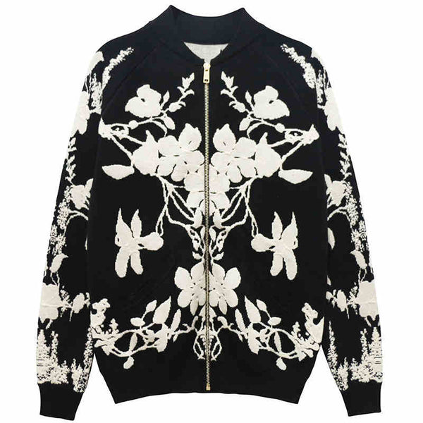Black and White Floral Jacket