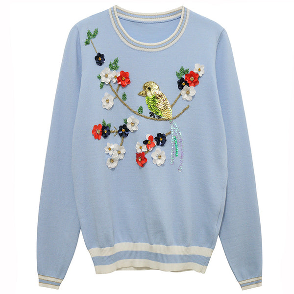 Sequined Bird Design Sweater