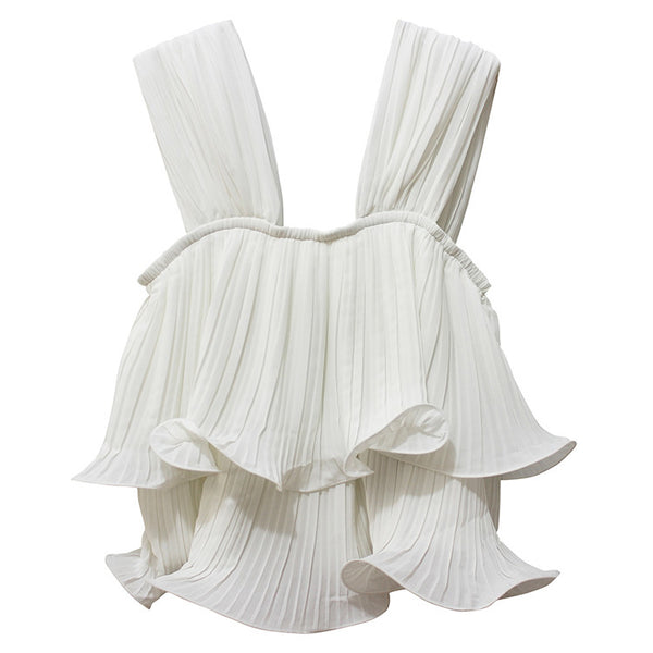 White Frill Pleated Top