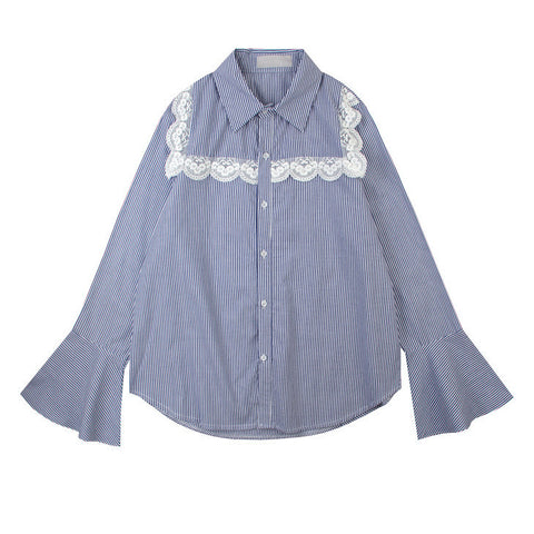Lace Front Striped Shirt