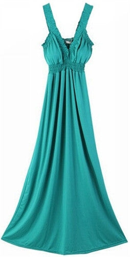 Turquoise Smocked Maxi Dress