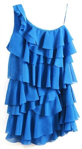 Electric Ruffles Asymmetric Dress
