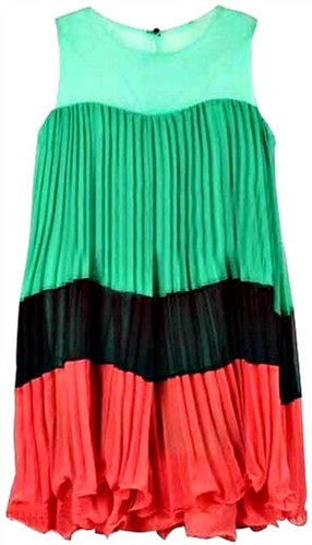 Tropical Pleated Dress