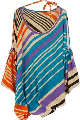 Diagonal Striped Wide Sleeve Knit Cape
