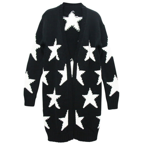 Black and White Star Long Cardigan