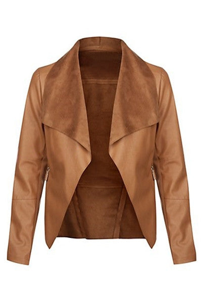 Camel Flap Lapel Jacket