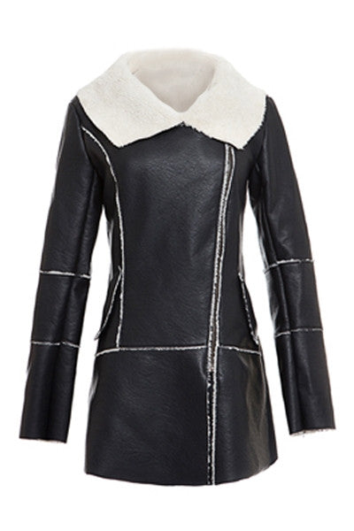 Monochrome Shearling Coat