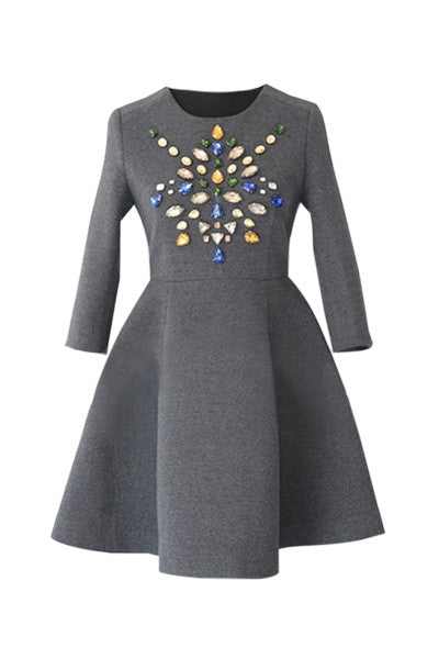 Bejewelled Woollen Dress