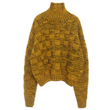Yellow Patchwork Effect Turtle Neck