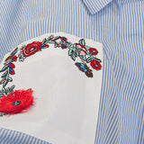 Floral Embroidered Blue and White Shirt