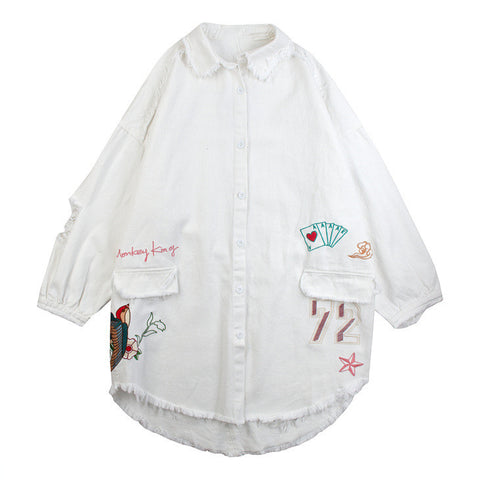 Frayed Collar Embroidered White Jacket