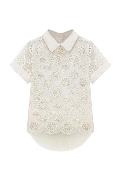 Cream Crochet Flower Top