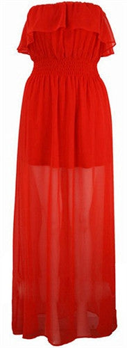 Red Hot 70s Maxi Dress