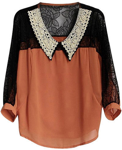 Lace & Pearls Chiffon Top
