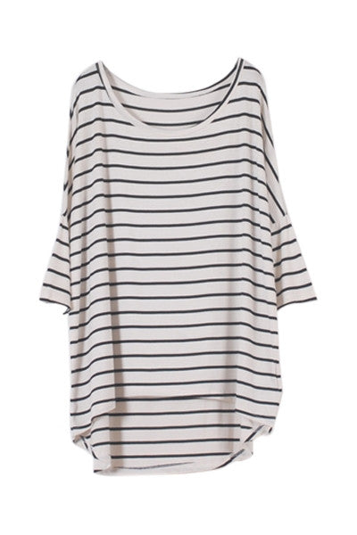Striped Dip Hem T-shirt