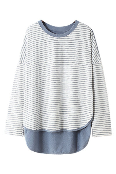 Striped Dip Hem Top