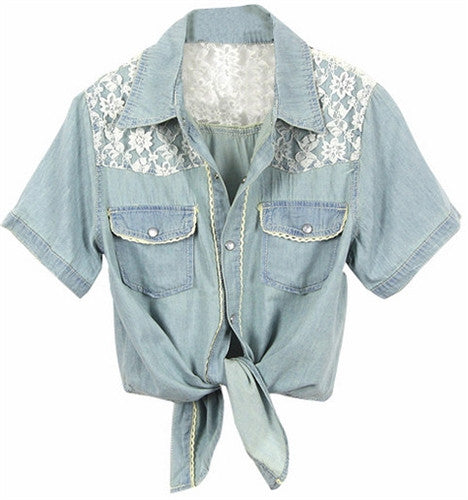 Lace and Denim Tie Top