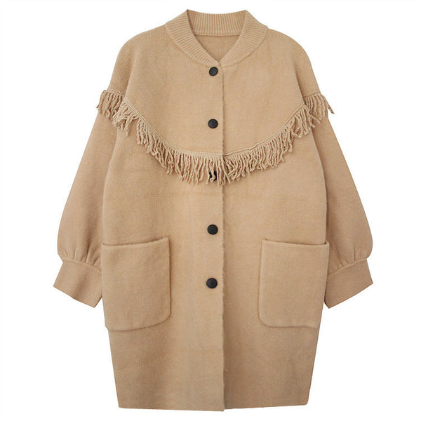 Oversized Fringe Detail Coat