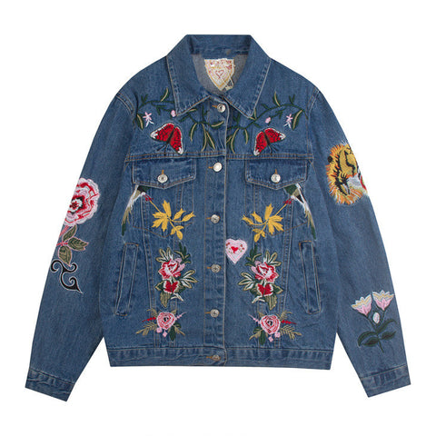Flower Garden Embroidered Denim Jacket