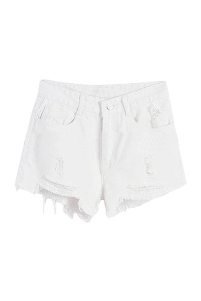 All White Distressed Denim Shorts