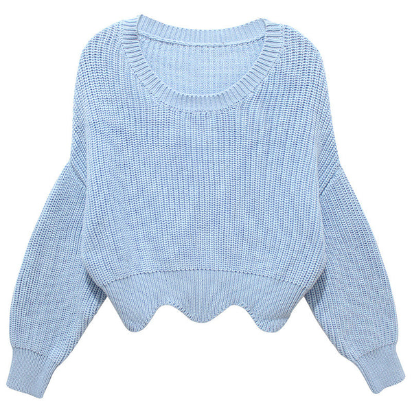 Waved Hem Sweater