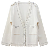 Pearl Detail Cream Cardigan
