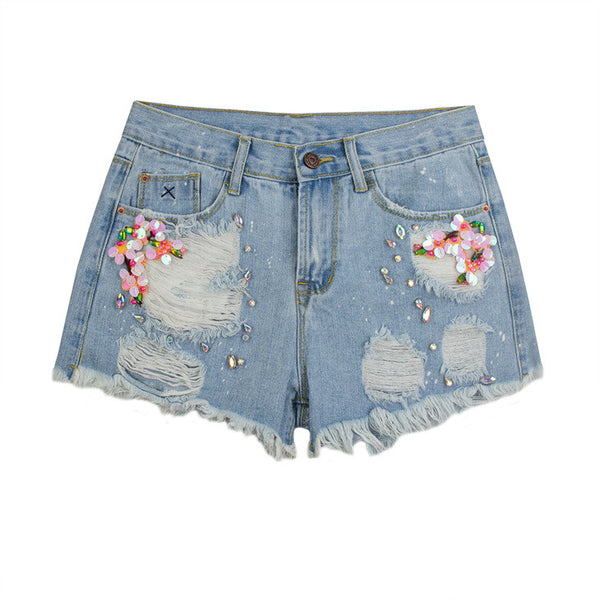 Distressed Sequined Denim Shorts