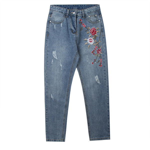 Flower Embroidered Jeans