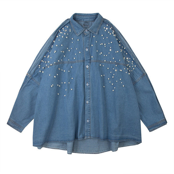 Pearl Detail Denim Shirt