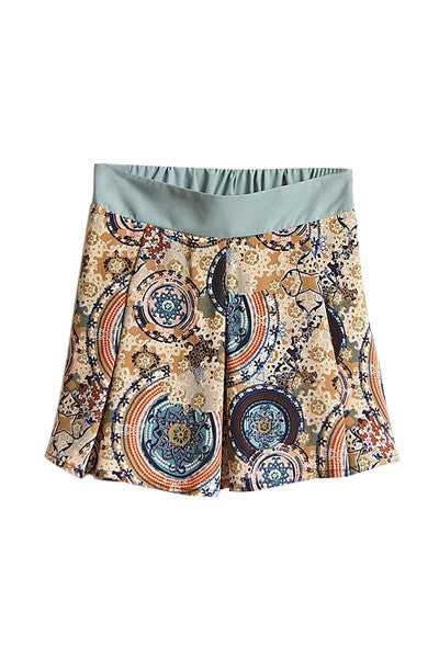 Patterned Box Pleated Shorts