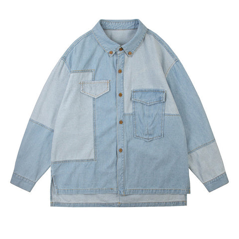 Two Tone Patchwork Denim Shirt