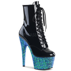 blue glitter ankle boots