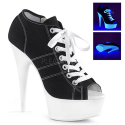 DELIGHT-600SK-01 Black Lace Up Running Shoe Heels