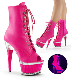 Illusion 1021 Hot Pink Open Toe Ankle Boots - Cherry Blossom Studio