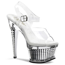 ILLUSION-658 Silver Chrome Pole Dancing Heels - Cherry Blossom Studio