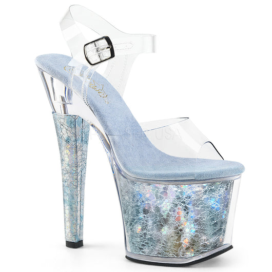 Radiant-708THG Silver Textured Hologram Pole Dancing Heels - Cherry Blossom Studio
