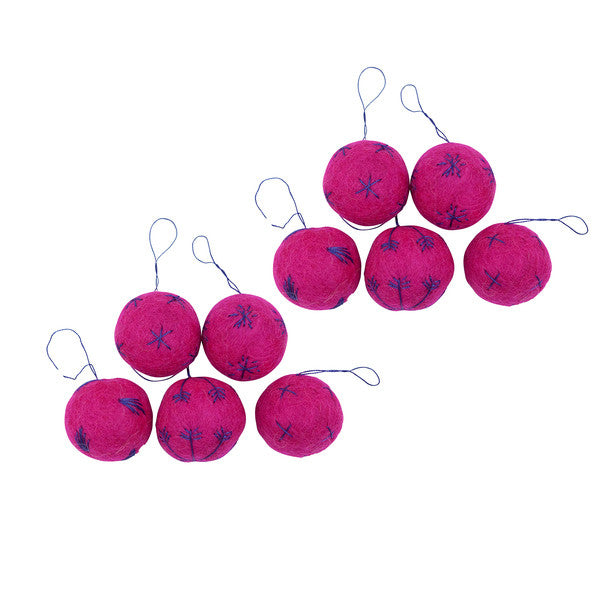 Hot Pink Embroidered Balls