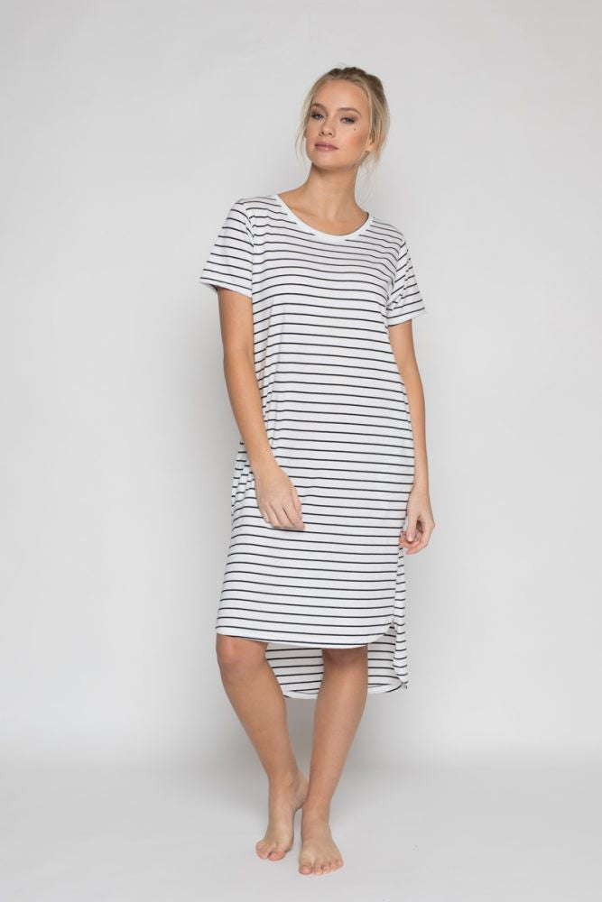 Annukka Daisy Dress white/black stripe
