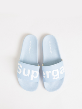 Superga Pool Slides White on Blue