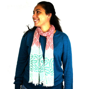 Cotton Scarf - Red and Green Leaves | Fair Trade & Handmade