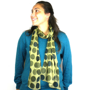 Cotton Scarf - Green Dots | Fair Trade & Handmade