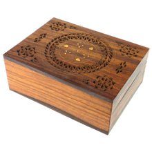 Load image into Gallery viewer, Handmade Carved Box - Floral Design with Brass Inlay Handmade and Fair Trade