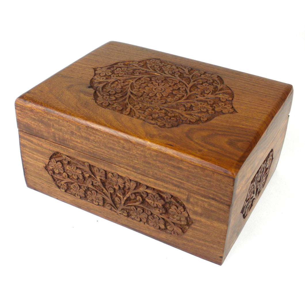 Handmade Carved Box - Rose Detail Design Handmade and Fair Trade