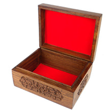 Load image into Gallery viewer, Hand-Carved Wood Box - Flowers | Fair Trade & Handmade