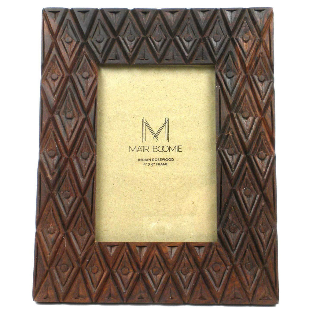 Picture Frame - 4x6 - Rosewood - Diamonds | Fair Trade & Handmade