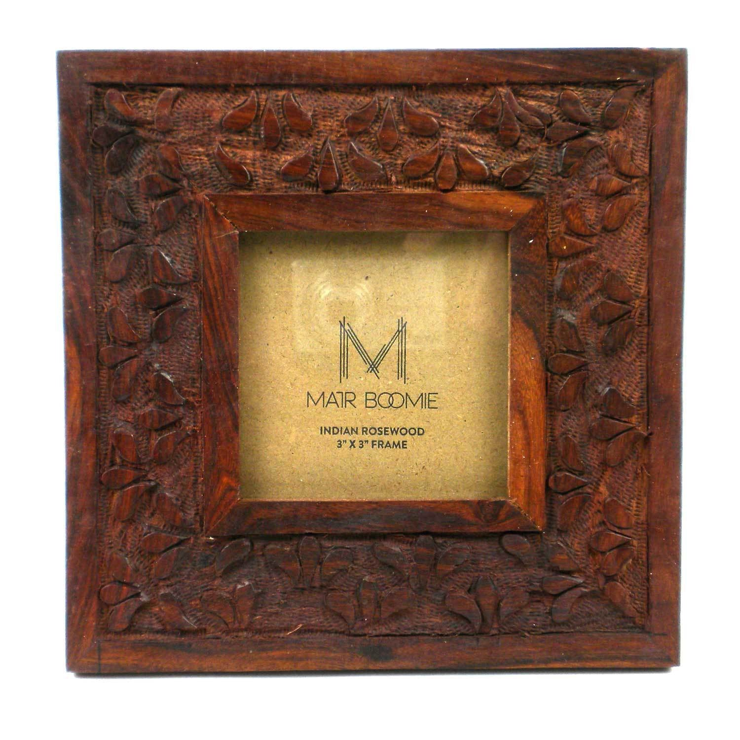 Handmade picture frames boho central picture frame 3x3 rosewood floral fair trade handmade jeuxipadfo Images