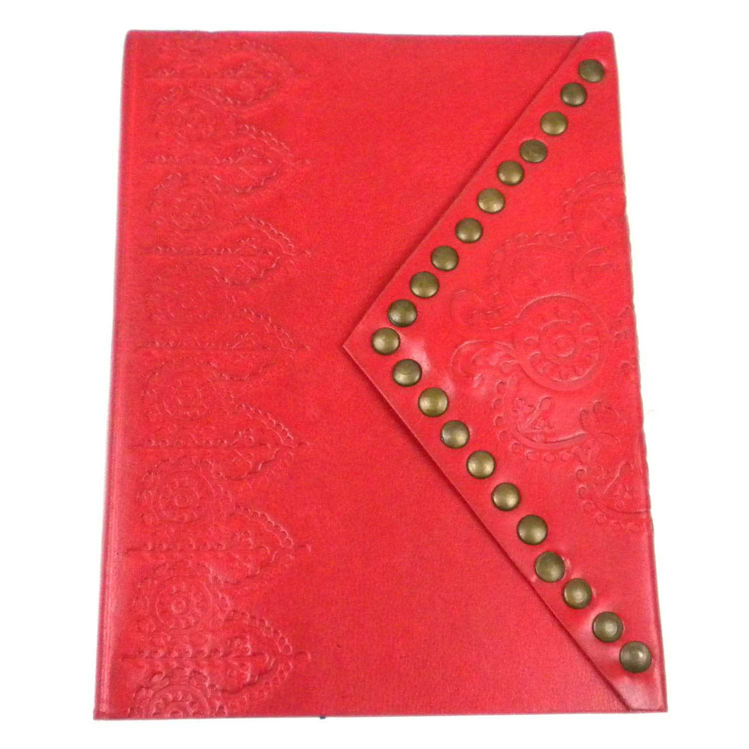 Embossed Leather and Nailhead Journal - Crimson | Fair Trade & Handmade