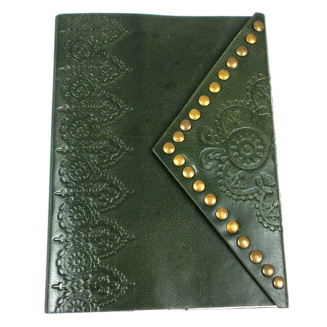 Embossed Leather and Nailhead Journal - Moss | Fair Trade & Handmade