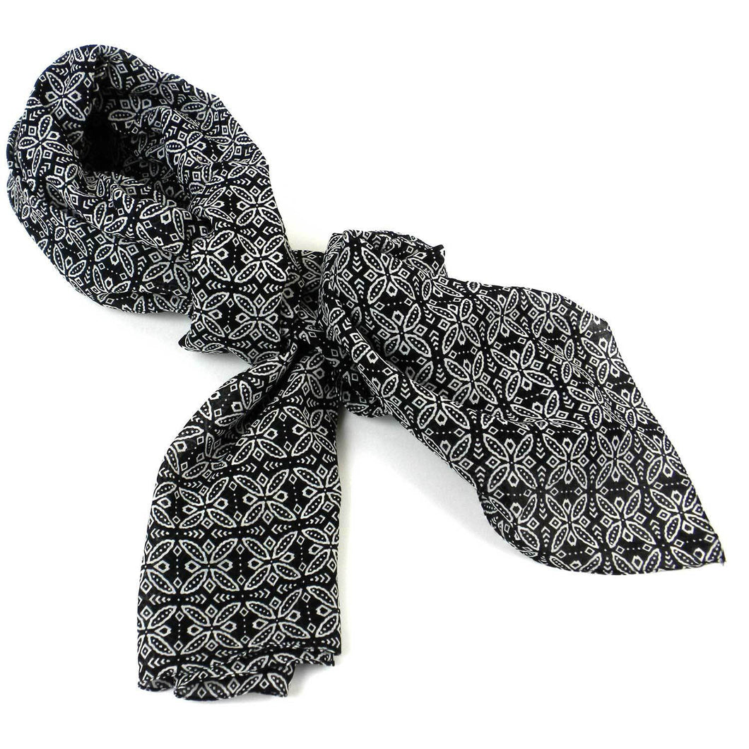 Cotton Scarf - Black and White Floral | Fair Trade & Handmade